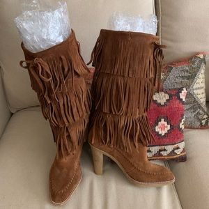 Michael Kors Suede Sassy Cowgirl Fringe Boots